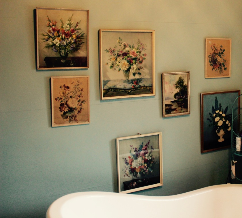 Vintage flower pictures collection - hung above the bath