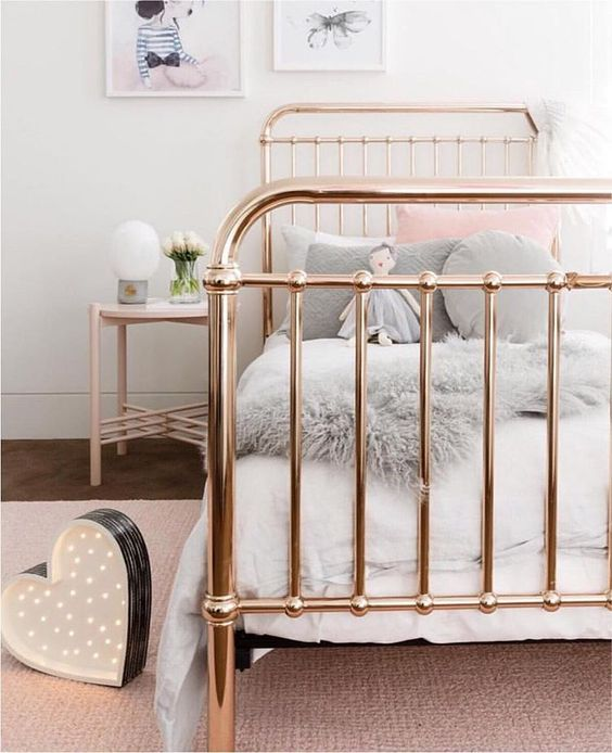 Gold Metal Framed Bed