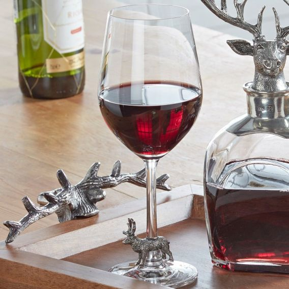 Stag Wine glass, tray and decanter