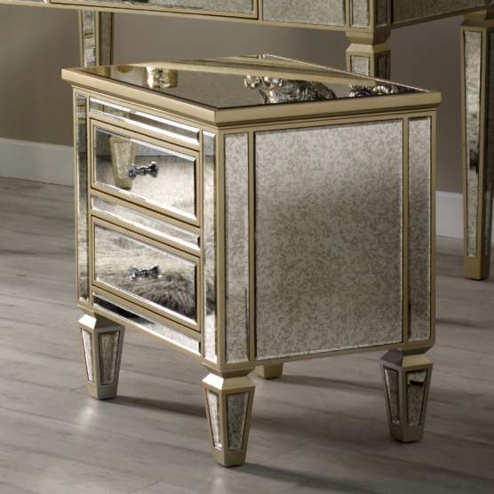 Alexandra Mirror Range - Two Drawer Bedside Table Melody Maison