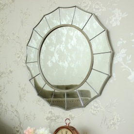 Large Silver Sunburst Art Deco Wall Mirror 61cm x 61cm Melody Maison