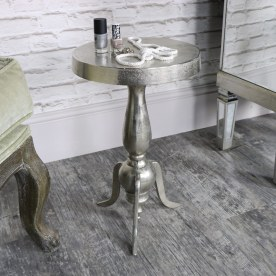 Small Silver Round Side Table - Melody Maison
